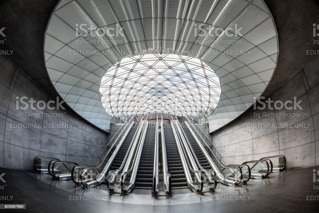 Interior of Triangeln Underground Train Station in Malmo, Sweden stock photo