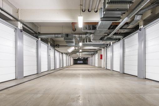 Interior of underground parking garage in Europe
