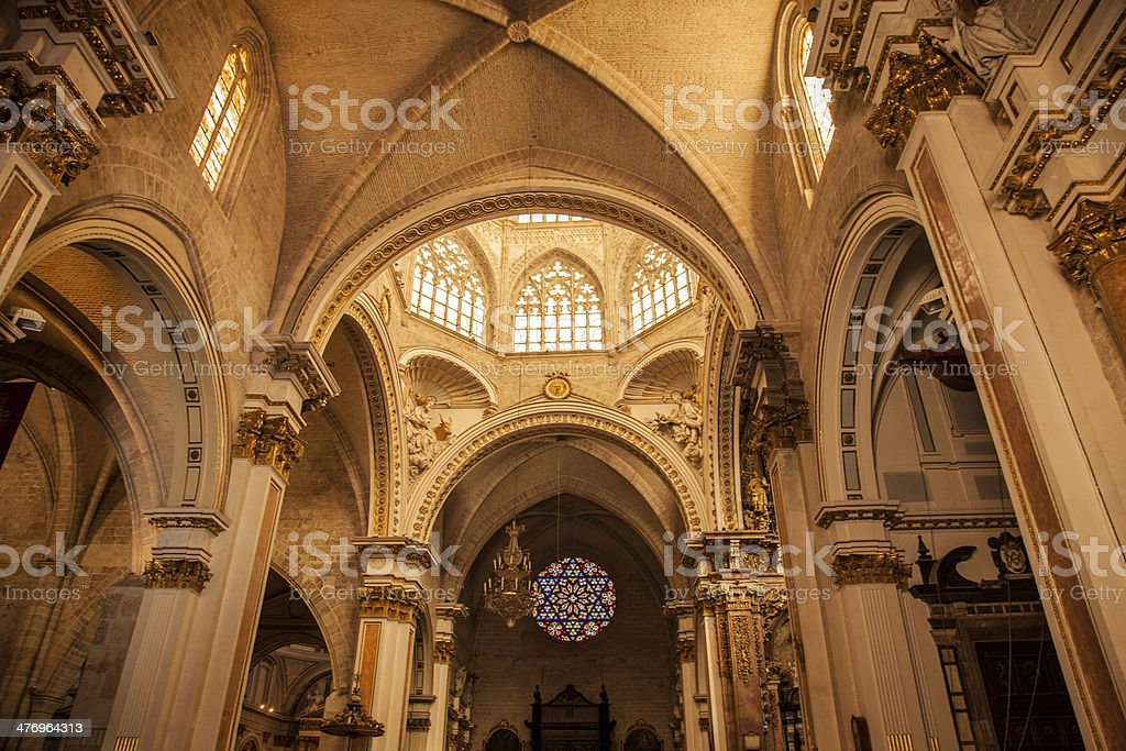 Interior of Valencia Cathedral stock photo