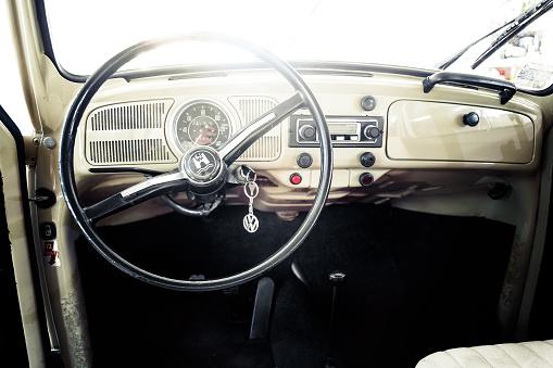 Novi Sad, Serbia - July 20, 2016: Interior of VW Beetle oldtimer fom 1970.