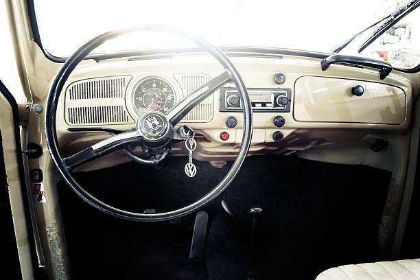 Interior of VW Beetle oldtimer fom 1970 stock photo