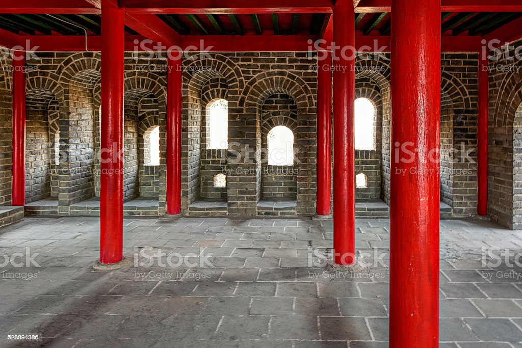 Interior of watchtower on Great China wall stock photo