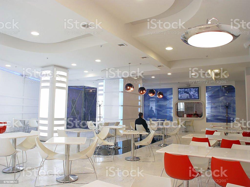 Interior of white cafe royalty-free stock photo