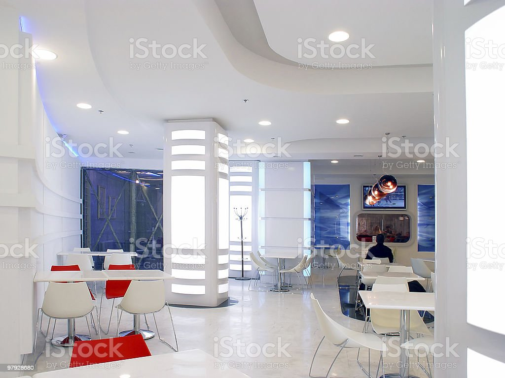 Interior of white cafe royalty-free stock photo