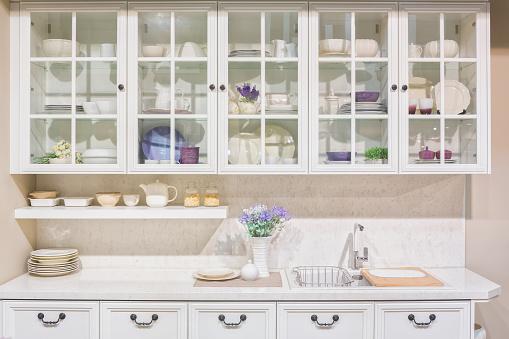 Interior of white domestic kitchen