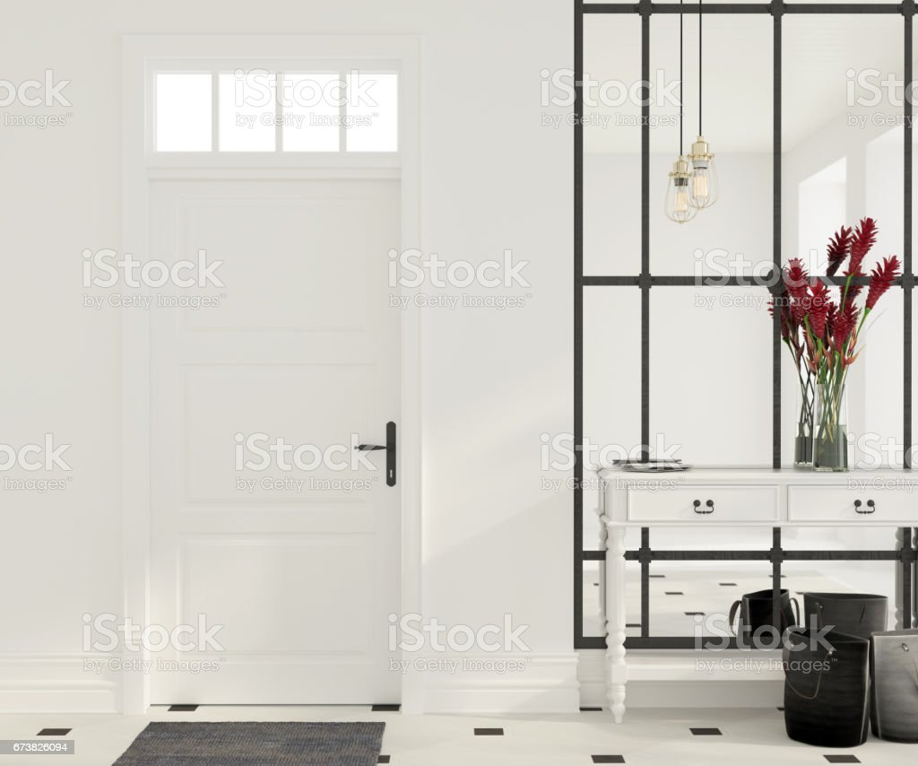 Interior of white entrance hall stock photo