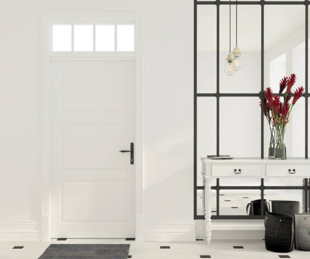 interior of white entrance hall - entrance stock photos and pictures