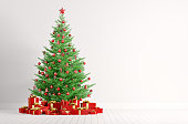 Interior of a white room with christmas fir tree and red gifts 3d render
