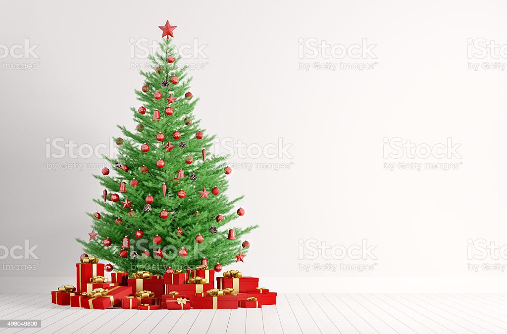 Interior of white room with christmas tree 3d render stock photo