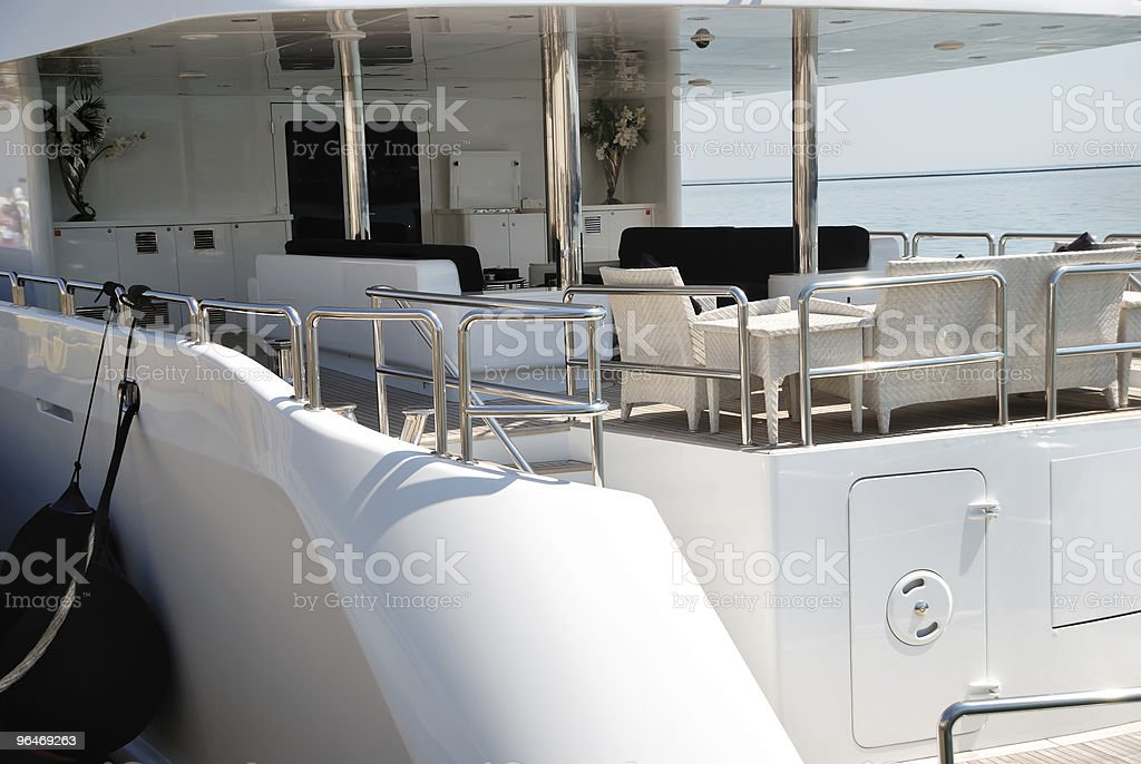 Interior of white yacht on an anchor royalty-free stock photo
