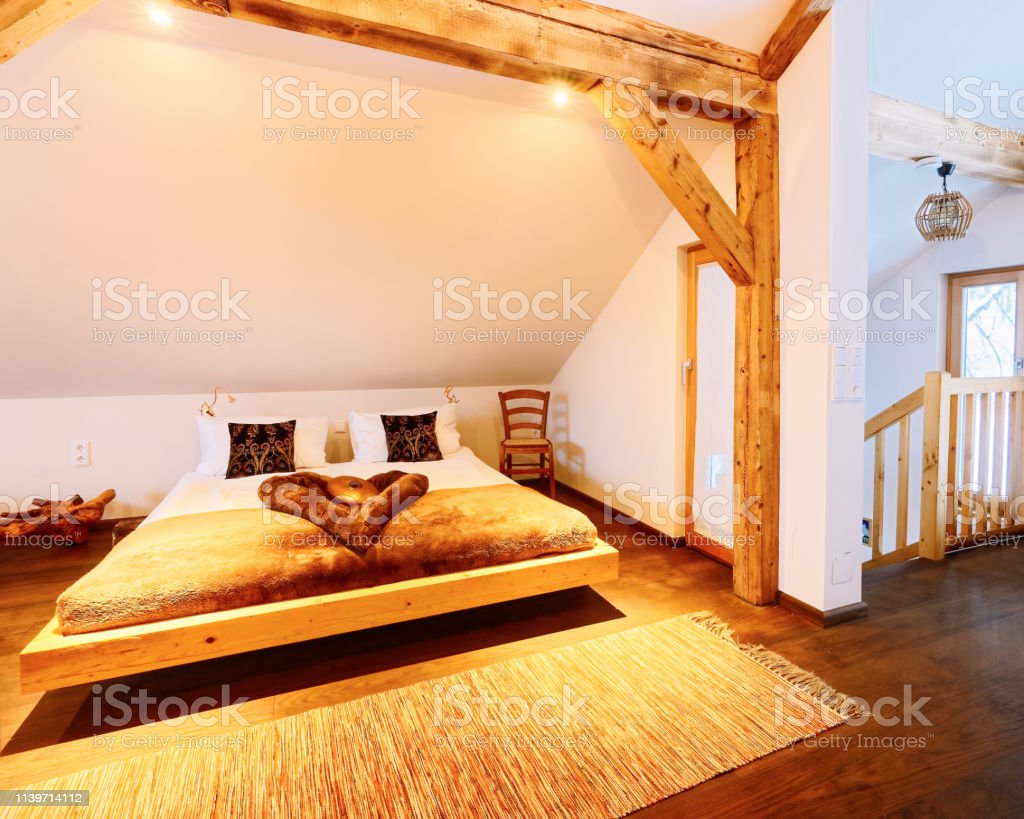 Interior Of Wood Bedroom Modern Design Of Bed Stock Photo Download Image Now Istock