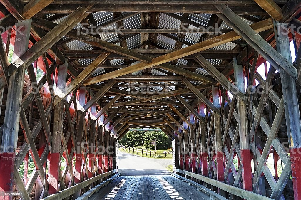 Interior of wooden covered bridge stock photo
