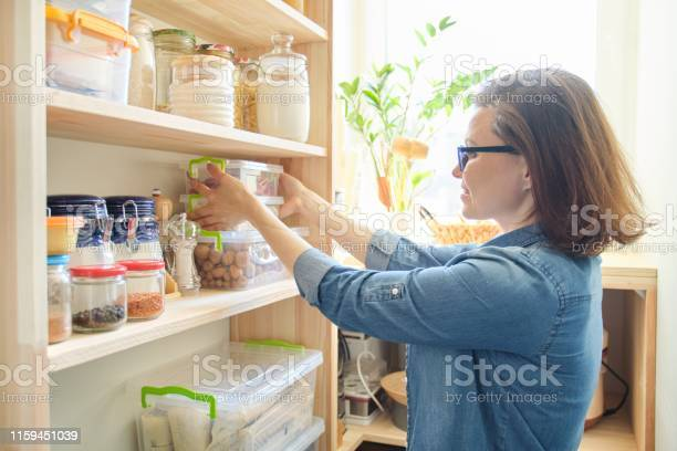 Interior of wooden pantry with products for cooking adult woman and picture id1159451039?b=1&k=6&m=1159451039&s=612x612&h=lejdaaelnwn2z8cdnb zgqu9uxr6gc647axfkyrzlnm=