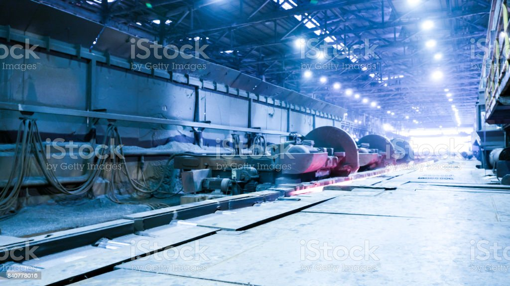 interior of workshop in steel factory stock photo