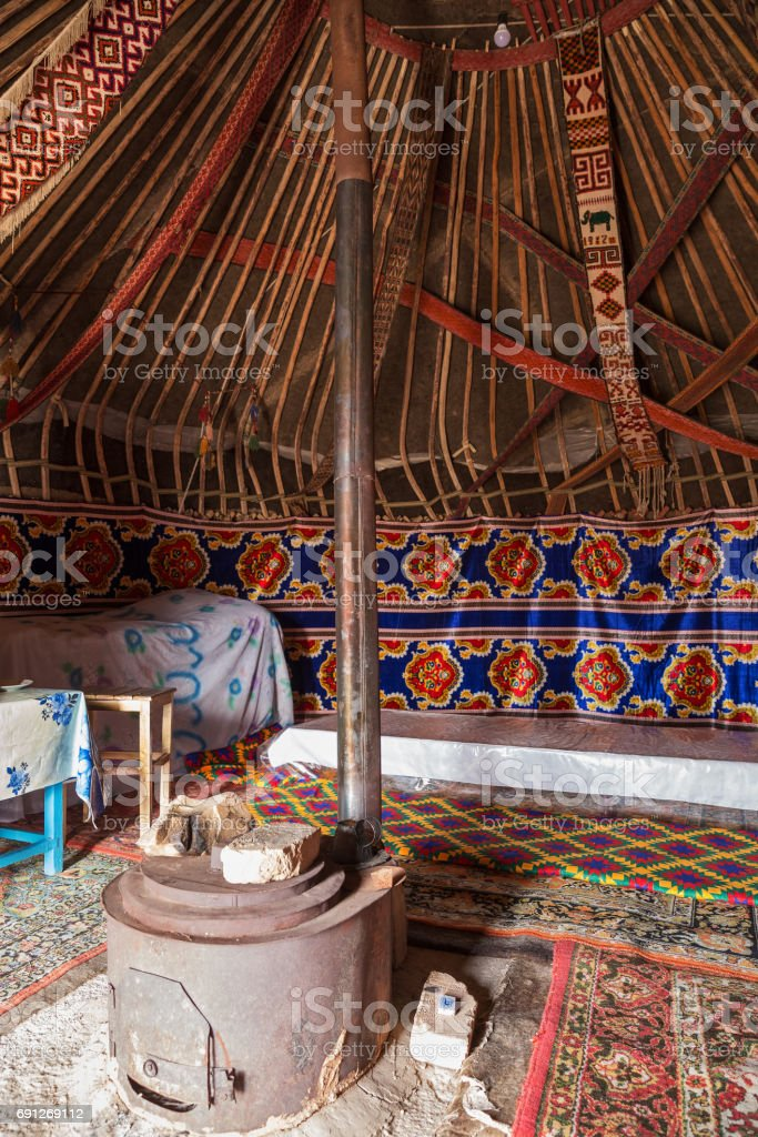Interior of yurt stock photo