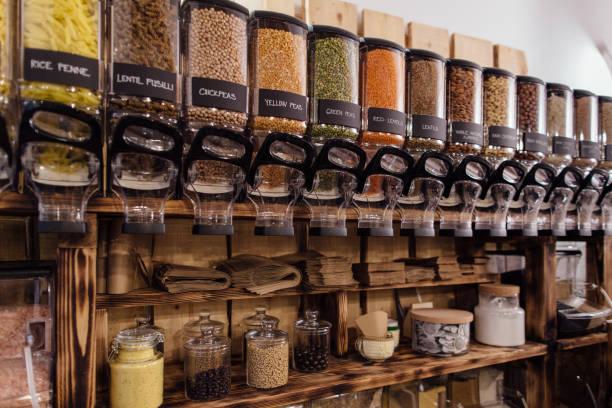 interior of zero waste shop. - comida sustentavel imagens e fotografias de stock