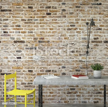 648050486istockphoto interior office desk with chair and brick wall 646172280