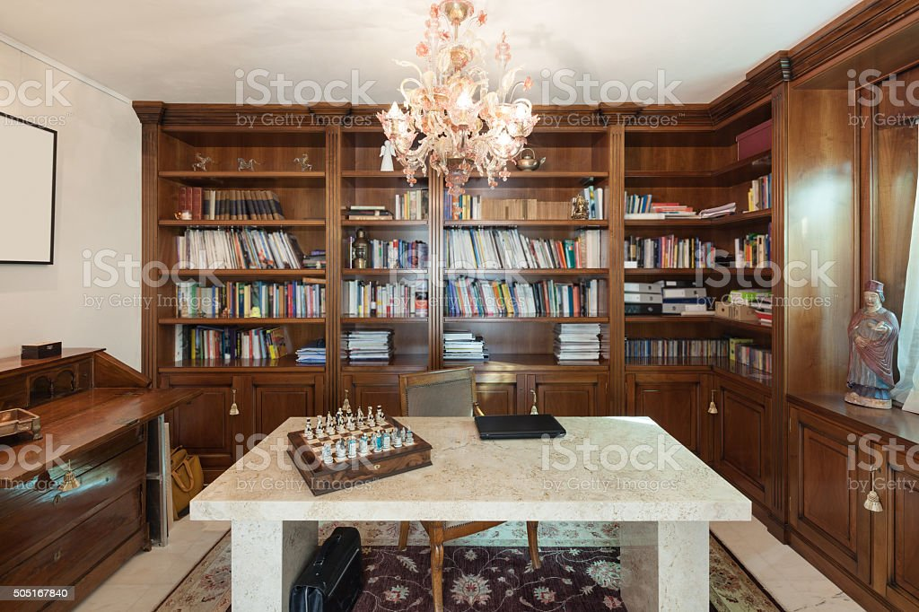 Interior, office in classic style stock photo