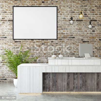 648050486istockphoto interior office lobby desk with a picture frame 671952294