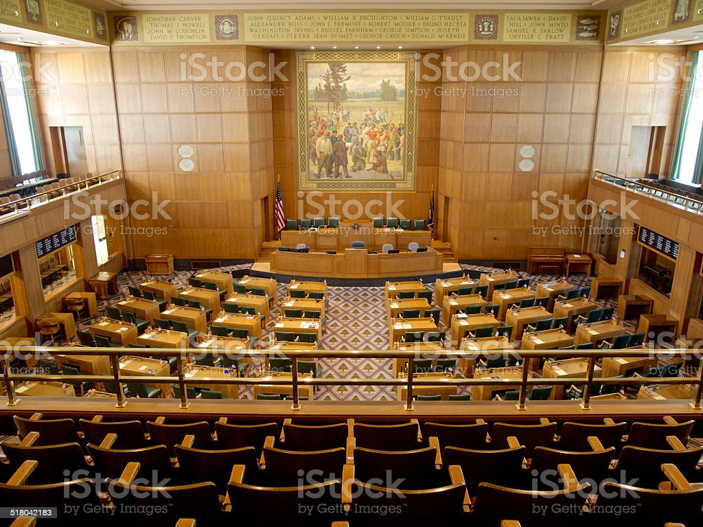 Interior Oregon House of Representatives State Capitol Chairs Upper Gallery stock photo