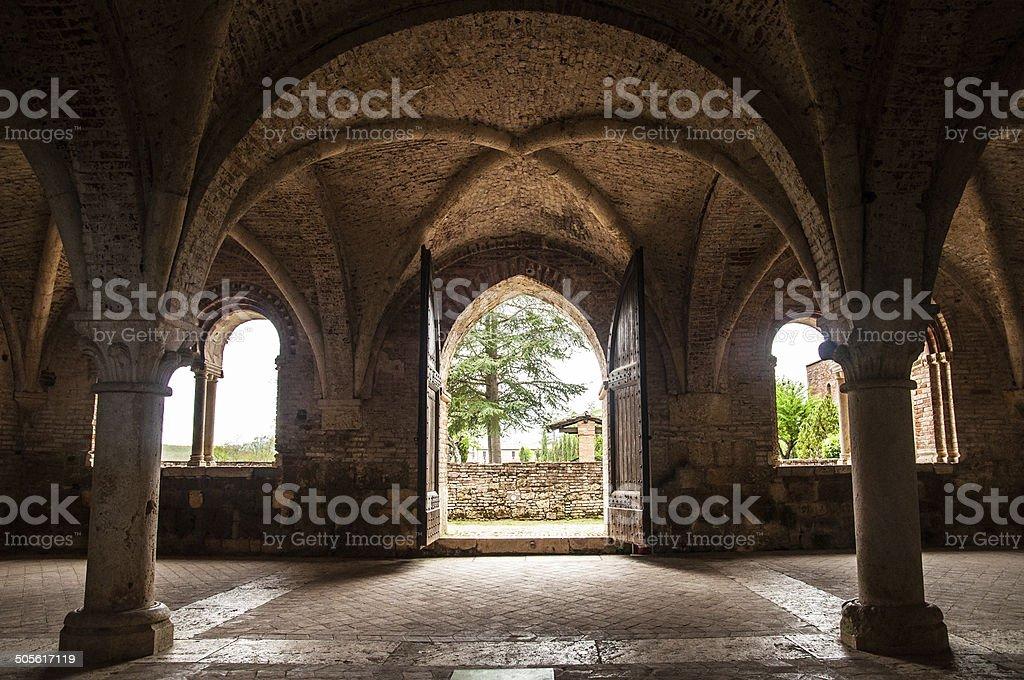 interior part of San Galgano abbey stock photo