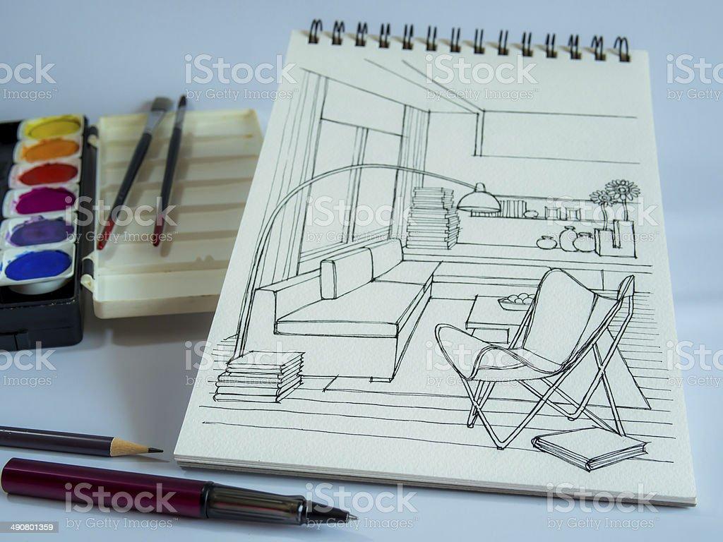Innenansicht blick auf skizze designerausstattung mit for Designer arbeitstisch