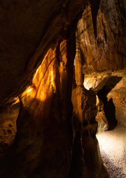 Interior photos of a stalactite cave in Franconian Switzerland in southern Germany stock photo