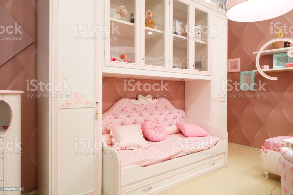 interior pink baby room for girls royalty-free stock photo
