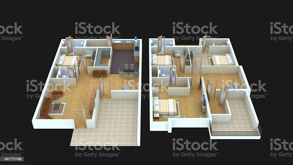 3d home design ground floor. Interior plan4 for home ground floor and first  3D royalty free stock photo Plan4 For Home Ground Floor And First 3d Stock