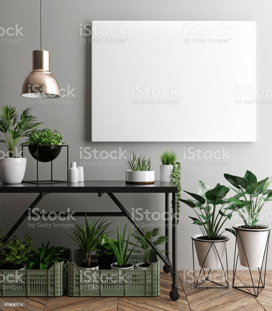 Interior poster mock-up with empty  frame and plants in the room vector art illustration