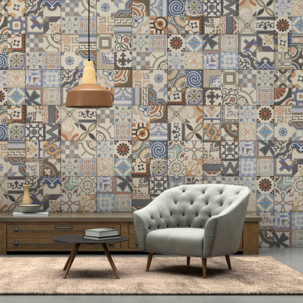 Interior render with armchair and patchwork tiled wall - foto stock