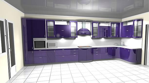 3d interior rendering modern  purple kitchen - küche lila stock-fotos und bilder