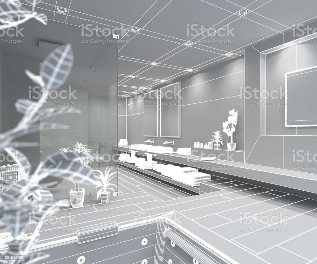 3D Interior rendering of a modern bathroom royalty-free stock photo