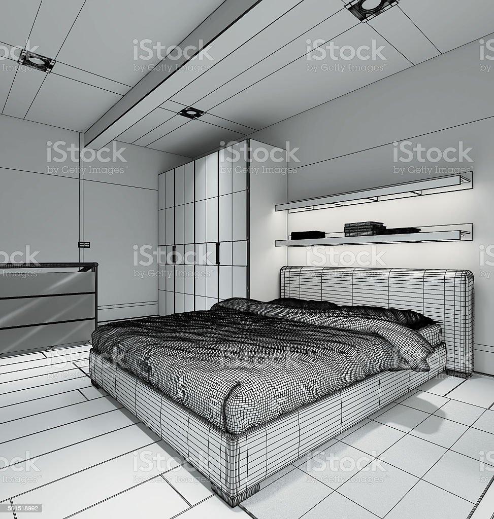 3D Interior rendering of a modern tiny loft stock photo