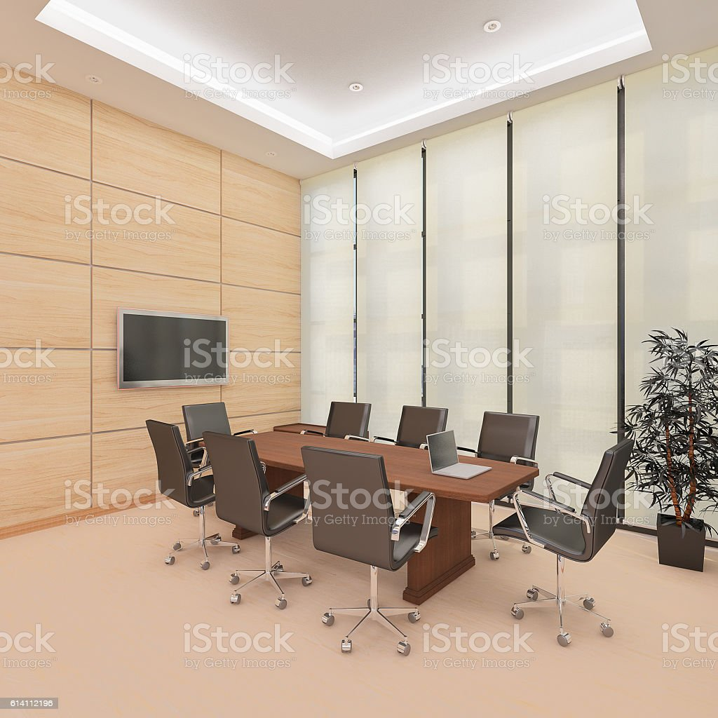 3D Interior rendering of an office stock photo