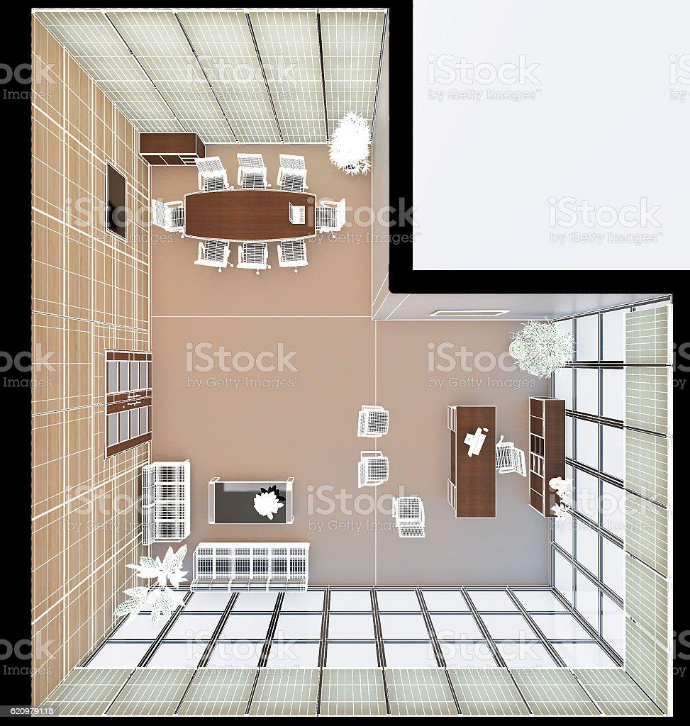 3 D Interior de um escritório de representação artística foto royalty-free