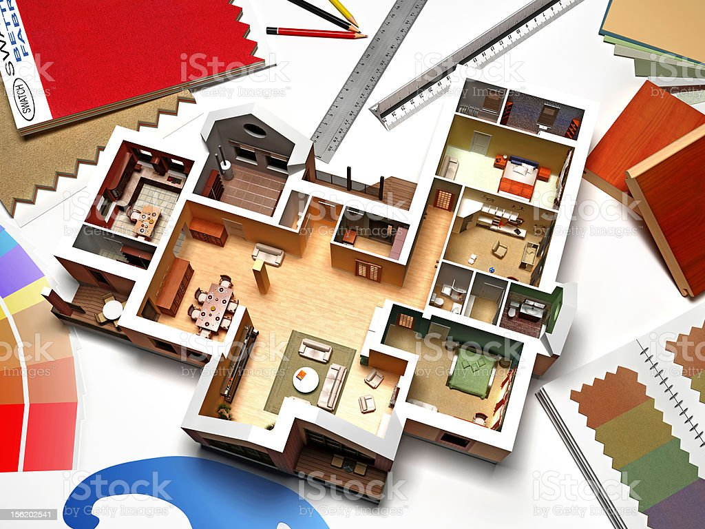 Interior rendering with samples and swatches royalty-free stock photo