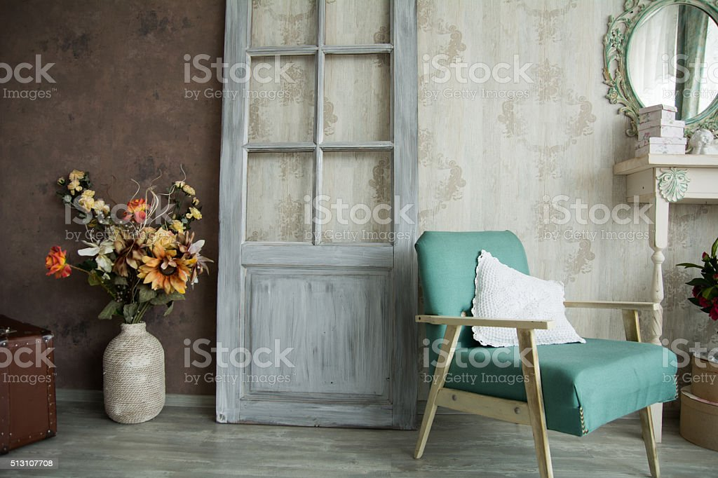 Interior retro room with an armchair stock photo