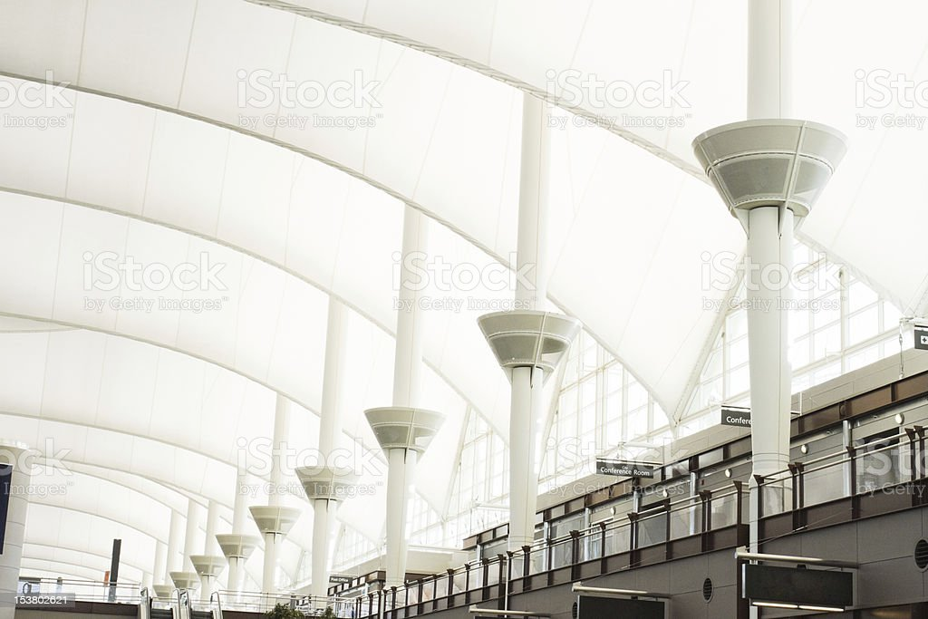 Interior Roof of Denver International Airport stock photo