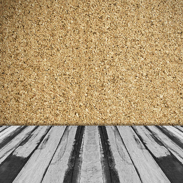 interior room background with corkboard wall - korkwand stock-fotos und bilder