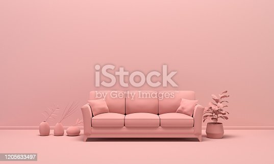 Interior of the room in plain monochrome light pink color with furnitures and room accessories. Light background with copy space. 3D rendering for web page, presentation or picture frame backgrounds.