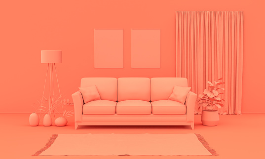 Interior room in plain monochrome pinkish orange color with furnitures and room accessories. Light background with copy space. 3D rendering