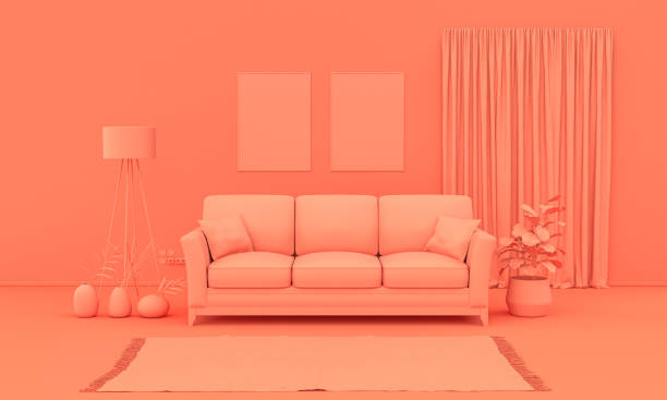 Interior room in plain monochrome pinkish orange color with furnitures and room accessories. Light background with copy space. 3D rendering Interior room in plain monochrome pinkish orange color with furnitures and room accessories. Light background with copy space. 3D rendering for web page, presentation or picture frame backgrounds. monochrome stock pictures, royalty-free photos & images