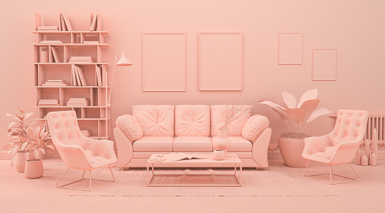 Interior room in plain monochrome pinkish orange color with furnitures and room accessories. 3D rendering for web page, presentation or picture frame backgrounds.