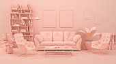 istock Interior room in plain monochrome pinkish orange color with furnitures and room accessories. 3D rendering for web page, presentation or picture frame backgrounds. 1269961561