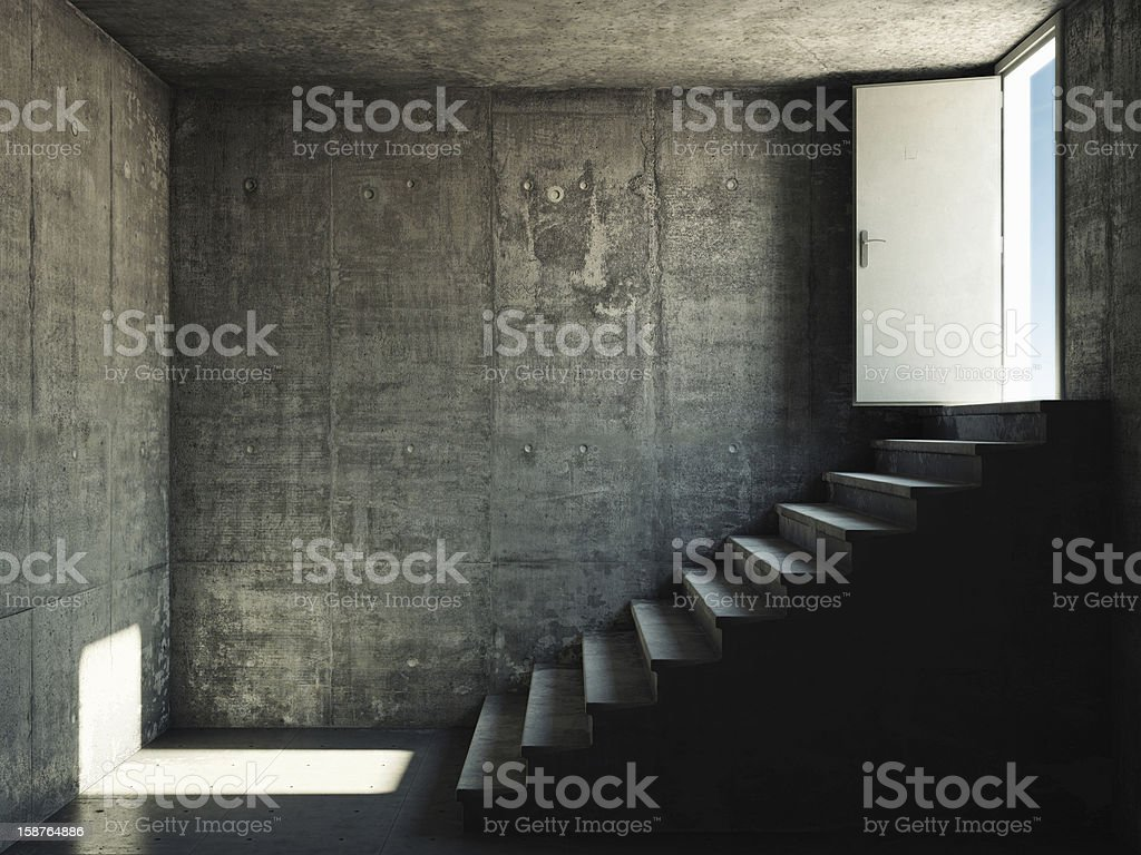 Interior room with concrete walls and stairs stock photo