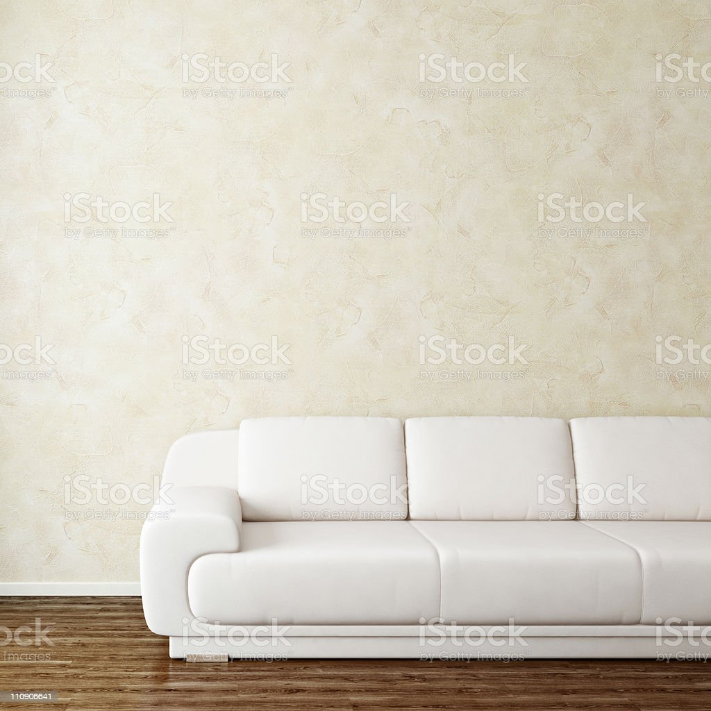 Interior room with modern white sofa near wall stock photo