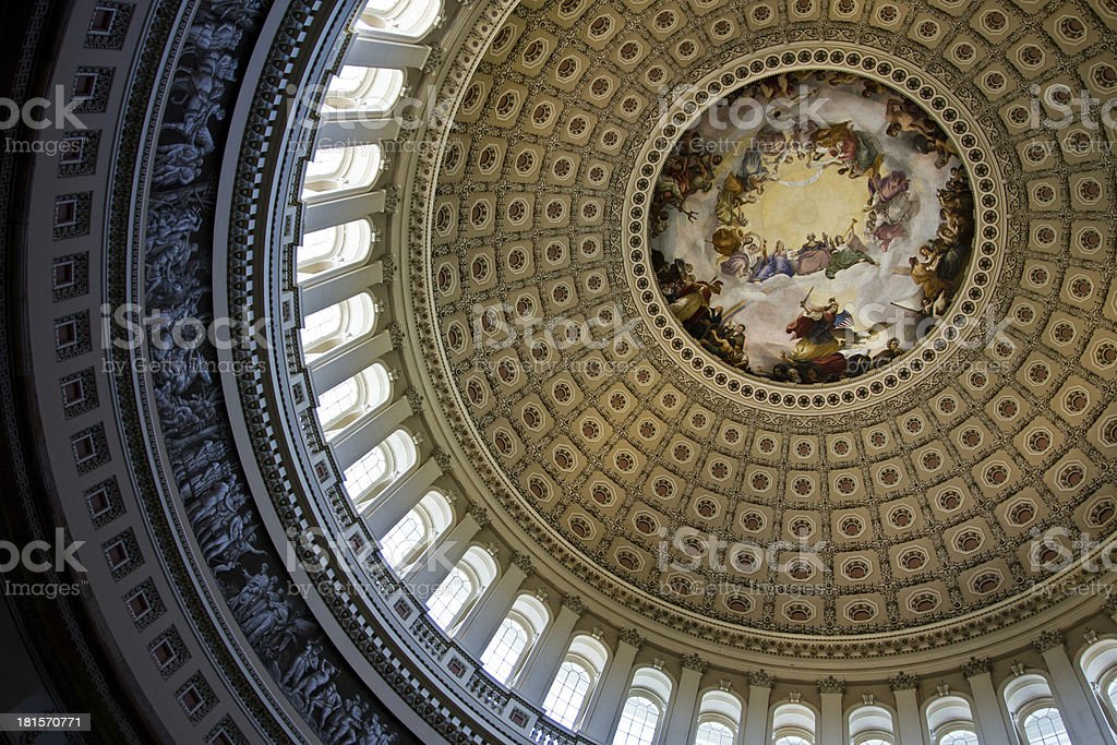Interior rotunda of the Capital Building dome in Washington DC stock photo
