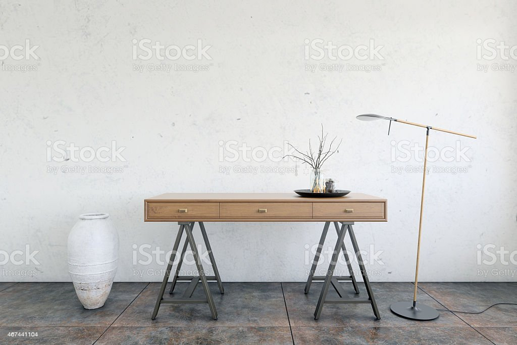 Interior scene, table, lamp, vase in loft like setup