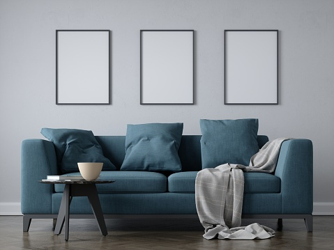 Interior scene with 50cm x 70 cm blank frames